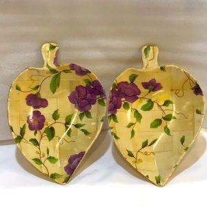 Pomerantz floral woven wood bowl set EUC